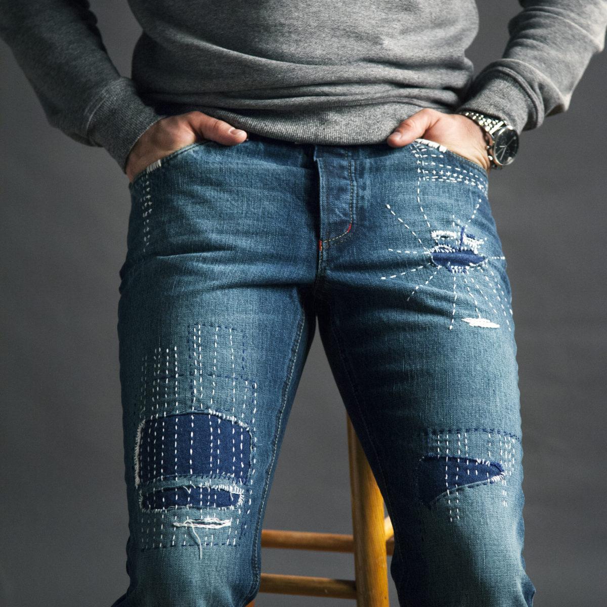 Pánské roztrhané slim džíny na míru selvedge denim