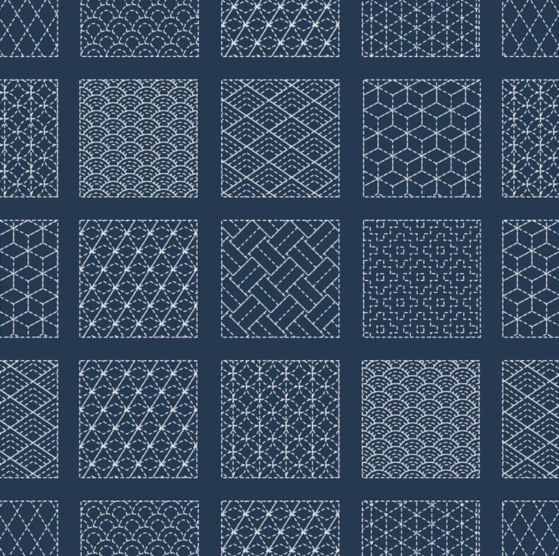 Japonské sashiko motivy vyšívání