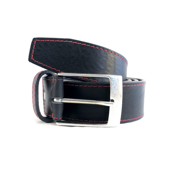 Men's Leather Belt Dark Blue Red Stitching Patrik Diamant