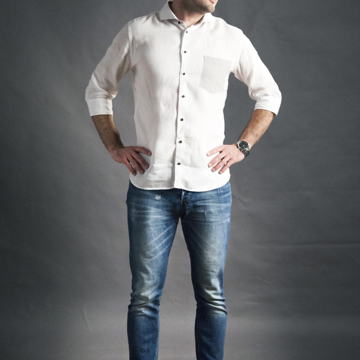 Pánská bílá lněná košile na míru