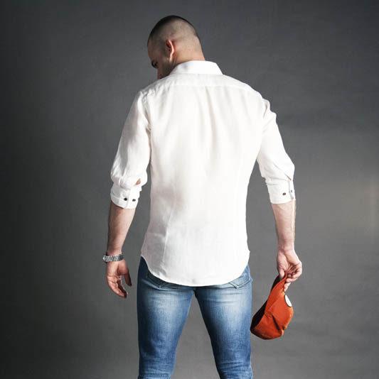 Pánská Košile Na Míru Bílý len Patrik Diamant