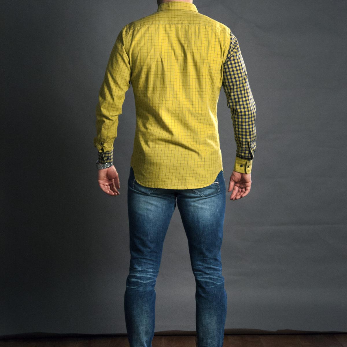 Pánská žlutá kostkovaná košile na míru s dlouhým rukávem
