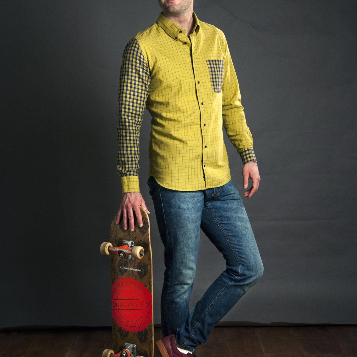 Žlutá letní slim fit košile na míru s kapsou